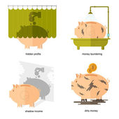 Flat design piggy bank icons vector illustration concepts of finance and business,piggy bank icons for finance and business hidden profits shadow income dirty money money laundering — Vector de stock