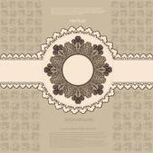 Vintage pattern background with circle frame — ストックベクタ