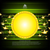 Green poker background with golden stars and circle frame — Stock Vector