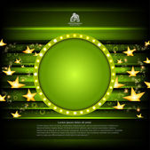 Green poker background with golden stars and green circle frame — Stock Vector
