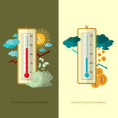 Flat design business illustration favorable and adverse financial conditions for example weather — Stock Vector