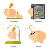 Flat design piggy bank icons concepts of finance and business on white improving the welfare, ideal conditions, stolen money, reliable protection — Stock Vector