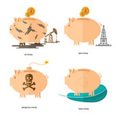 Flat design piggy bank icons concepts of finance and business on white,oil accounts, gas money, easy money, dangerous money — Stock Vector