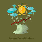 Flat design business illustration favorable financial conditions for example weather — Stock Vector