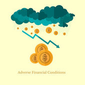 Flat design business illustration adverse financial conditions for example weather — Stock Vector