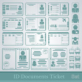 Set samples of documents cards tickets and certificates — Διανυσματικό Αρχείο