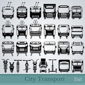 Set of city transport front view black silhouettes — Stock Vector