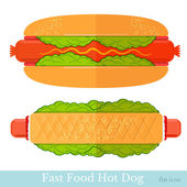 Flat two hot-dogs on white — Stock Vector