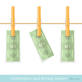 Money dry on the rope flat design concepts illustration of finance and business — Stock Vector