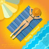 Summer background with sunbathe girl on beach near sea — Stock Vector