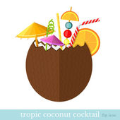 Tropic coconut cocktail flat design — Stock Vector