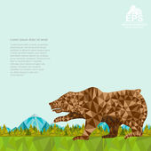 Crumpled paper background with bear and forest and mountines on horizont — Vector de stock