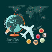 Flat design illustration of tourism and travel, globe and plane fly on other part of world — Stock Vector