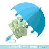 Flat concept business icon money protected umbrella — Stock Vector