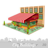 Building of pizzeria isolated on white — Stock Vector