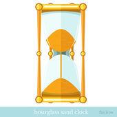Flat ikonen sand timglas på vit — Stockvektor