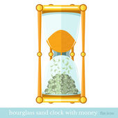 Flat business icon sand hourglass with money bill on white — Stock Vector