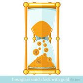 Flat business icon sand hourglass with money coin on white — Stock Vector
