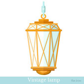 Flat icon vintage gas lamp isolated on white — Stock Vector