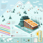 Set of flat design ski resort infographics with hotel transportation and roots — Stock Vector