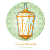 Flat background with gas vintage lamp and beam flashed money — Stock Vector