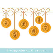 Gold coin dry on rope — Stock Vector
