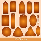 Leather tag big collection — Stock Vector