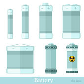 Set of battery and accumulator — Stock Vector