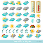 Flat hydrometeorological icons — Stock Vector