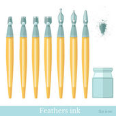 Ink feathers with inkwell — Stock Vector