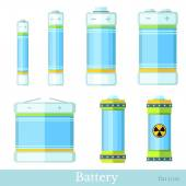 Color battery and accumulator — Stock Vector