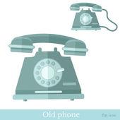 Flat old phone icon — Vector de stock