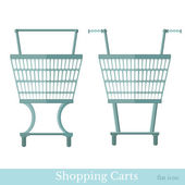 Shopping carts front view — Stockvector