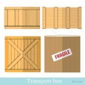 Flat boxes for transportation — Vector de stock