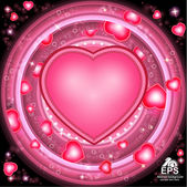 Valentines day glowing background with hearts — Stock Vector