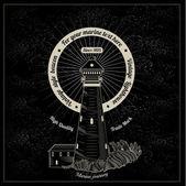 Marine style engraving white lighthouse — Stock Vector