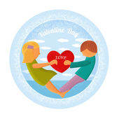 Boy and girl hold heart — Stock Vector