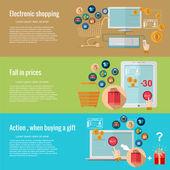 Płaska konstrukcja koncepcji e zakupy — Wektor stockowy