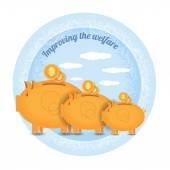 Three piggy bank with coin — Stock Vector