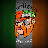 Red whiskers head of Irishman — Stock Vector