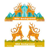Backgrounds with deers, forest and mountains — Stock Vector