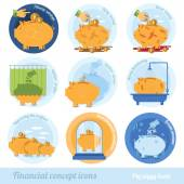Colorful piggy bank icons — Stock Vector