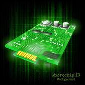 Close-up of shining 3d microchip — Stockvektor