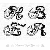 Set of marine capital letter — Stock Vector