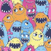 Pattern with cartoon monsters — Stock Vector