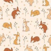 Pattern with sweet rabbits — Stock Vector