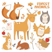 Cute forest animals — Stock Vector
