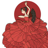Flamenco dancer in red dress — Stock Vector