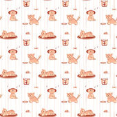 Seamless pattern with funny cats in flat style — Stock vektor
