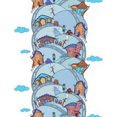 Seamless vertical pattern with cartoon houses — Stock vektor